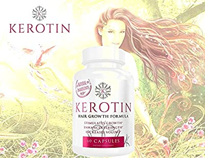 Kerotin Hair Growth Vitamins for Natural Longer, Stronger, Healthier Hair - Enriched with Vitamin B, Biotin, & Folic Acid - Promotes Long, Frizz-Free, Keratin Rich Hair - Works on All Hair Types (1)
