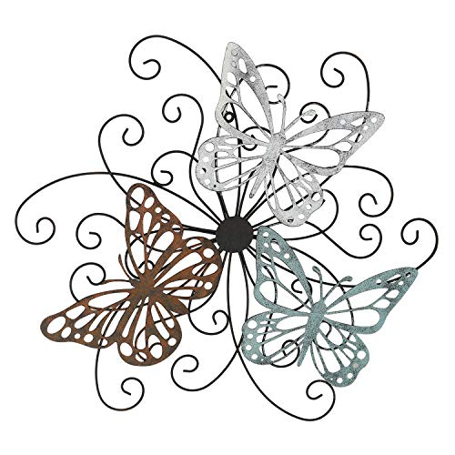 Adeco Flower and Butterfly Urban Design Decorative Scrolled Metal Wall Decor for Nature Home Art Decoration & Kitchen Gifts, 19.5