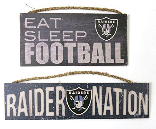 Oakland Raiders, Wall decor, wood plaques''raider Nation'' and ''eat sleep football'' set of 2.