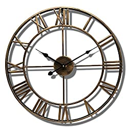 Wall Clock Nordic Modern Minimalist 19-inch Wrought Iron Silent Roman Digital Living Room Bedroom Coffee Shop Fashion Ornaments (Color : Gold)