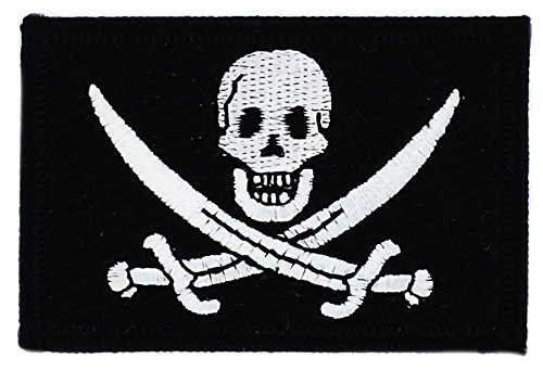 Toppa Ricamata Bandiera Pirata Jack Rackham Testa di morte thermocollant Akacha