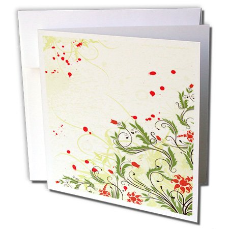 Anne Marie Baugh - Flowers - Pretty Red Tulip Flowers With Fancy Leaves - 12 Greeting Cards with envelopes (gc_236139_2)
