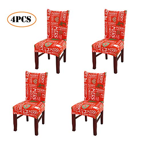 Merry Christmas Spandex Stretch Dining Room Chair Covers Kitchen Chair Covers Christmas Decoration Festive Favor for Holiday Party Festival Halloween Kitchen Dining Room Chairs (Merry Christmas 4PCS)
