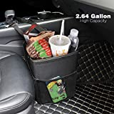 Hanging Car Trash Can Bin - PowerTiger Car Garbage Cans Bag with Lid & 3 Mesh Storage Pockets 2.64 Gallon