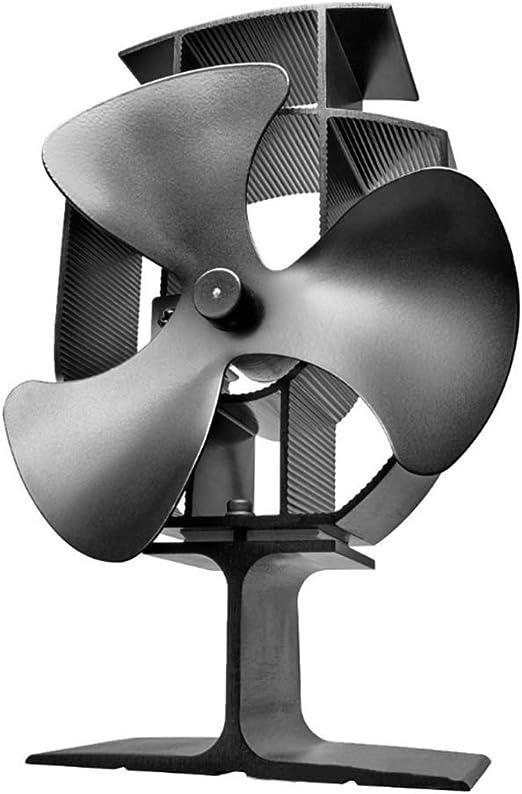 Ventilador de estufa alimentado por calor con 3 palas, ventiladores de estufa de leña de aluminio, ventilador de leña con sobrecalentamiento Protección de seguridad ...