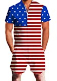 Uideazone USA American Flag Male Jumpsuit -Jumpsuit Slim Fit Party Overalls for Men