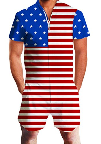 AIDEAONE Men Stars Stripes USA Flag Printed Short Romper Sleeve Street Casual Cargo Pants Jumpsuit