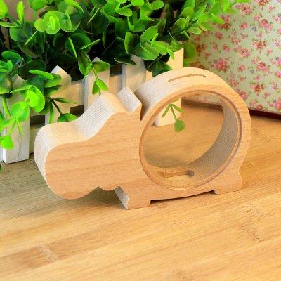 SHINA透明木製動物貯金箱、Hippo   B01MU4D09U