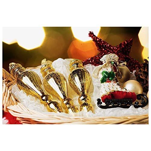 Set of 3 Seasonal Color Style Vintage Style Mercury Glass Gold Drop Ornament