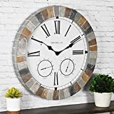 FirsTime & Co. 99670 Garden Stone Outdoor Wall Clock, 18', Faux Slate