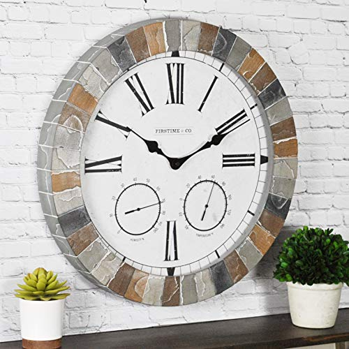 FirsTime & Co 99670 FirsTime Garden Stone Outdoor Wall Clock, Faux Slate