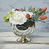 Mercury Glass Compote Dish, Bowl with Pedestal, 7.25 in. tall, Silver