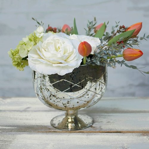 Mercury Glass Compote Dish, Bowl with Pedestal, 7.25 in. tall, Silver (Glass Bowl Compote Pedestal)