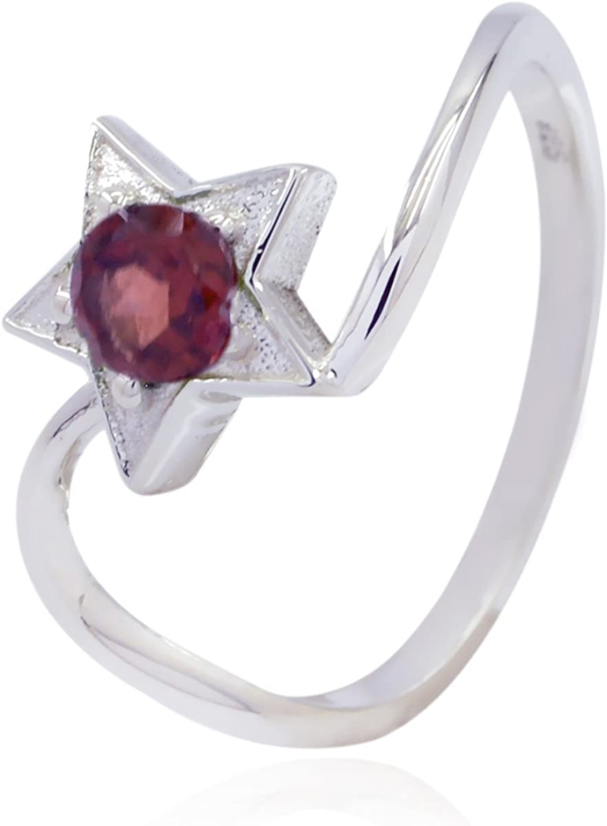 Faishon Jewelry Greatest Selling Shops Gift for Easter Sunday fine Rings Natural Gemstone Round Faceted Garnet Ring Solid Silver Red Garnet Natural Gemstone Ring