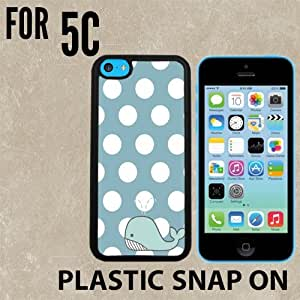 Polka Whale Custom made Case/Cover/skin FOR iPhone 5C -Black- Plastic Snap On Case ( Ship From CA)