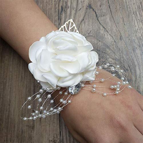 - CoronationSun - Brooch for Women - Silk Rose Flower Groom Bride Wrist Corsage Man Suit Brooch Women Hand Wedding Flowers Party Decoration Xf08