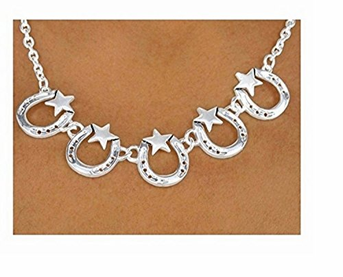 Polished Silver Finish Lonestar Horseshoe Necklace & Earring Set by Lonestar Jewelry