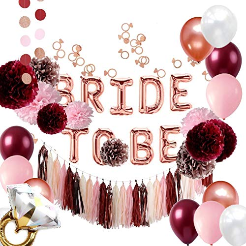 Burgundy and Rose Gold Bachelorette Party Decorations Bridal Shower Kit - Tissue Pom Poms Bride to Be Balloons Banner Tassels Garland Ring Confettis - All in ONE