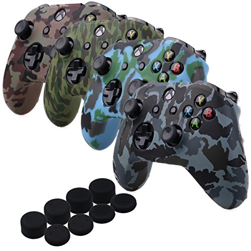 Silicone Skin Case Pack - YoRHa Water Transfer Printing Camouflage Silicone Cover Skin Case for Microsoft Xbox One X & Xbox One S controller[After 8.2016 model] x 4(forest+navy+desert+snow) With PRO thumb grips x 8