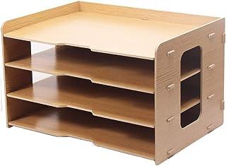ZHANGLIXIANG WJG Desktop-4-Schicht-Datei-Halter, Holz-Multi-Layer-Büro Bücherregal A3 Papier Aufbewahrungsbox Informationsbox A4 Druckerrahmen (Farbe : A)
