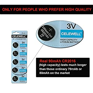 CR2016 For Garage Door Opener/Watch 90mAh 3 Years Warranty 3V Lithium Coin Cell Battery 10 Pack CELEWELL Brand