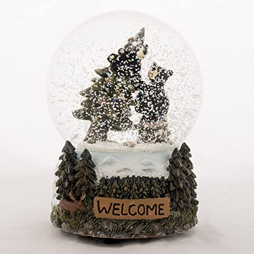 Welcome Black Bears 6 inch 100MM Glass Resin Musical O Tree Holiday Glitterdome