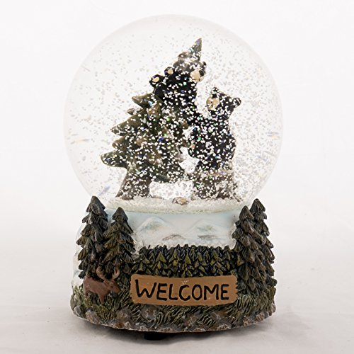 Welcome Black Bears 6 inch 100MM Glass Resin Musical O Tree Holiday -