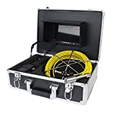 """Boblov WF92 98FT 30M Waterproof Sewer Snake Video Camera 7"""" LCD Screen Drain Pipe Inspection Video Recording DVR Night Vision 12 Led Lights With Aluminum Case"""