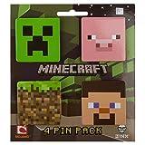 Minecraft 4 Button Set (Creeper, Pig, Dirt Block, Steve)