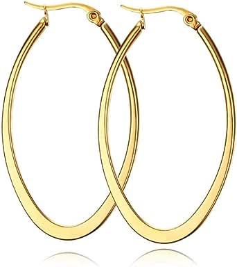 Amazon Brand-HIKARO Hoop örhängen, rostfritt stål, guldfärg, tunn och platt, stor, oval, vår, guldfärg