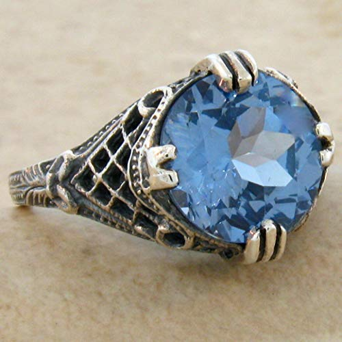 4 CT. SIM Aquamarine Antique Art Deco Style .925 Silver Ring Size 9.75 KN-4436 from VELEZO