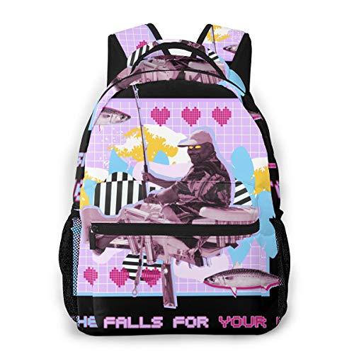 DAXIXIBA If She Falls for Your Line She's A Good Catch Casual Fashion Backpack for Unisex Hiking School Backpack Travel Lightweight Individual Laptop Black Daypack