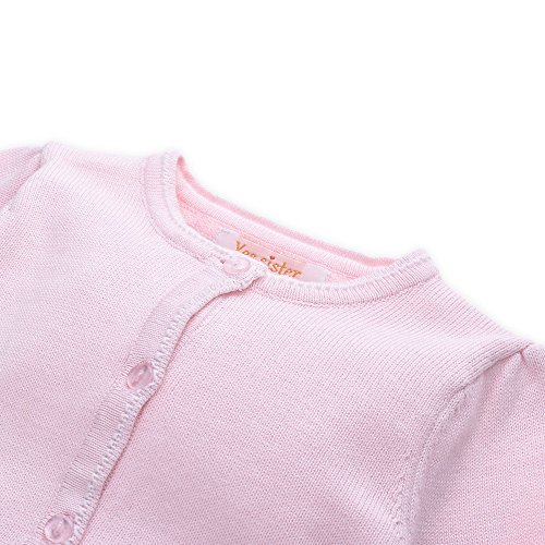 Mornyray Little Girls Fine Knit Cardigan Sweaters Thin Basic Crew Neck Solid by Mornyray (Image #2)
