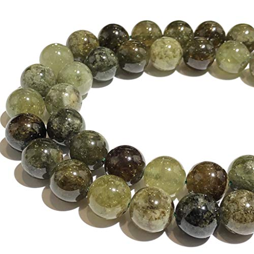 ([ABCgems] Extremely Rare Madagascan Green Garnet (Exquisite Matrix- Grade AA) 12mm Smooth Round Beads for Beading & Jewelry)