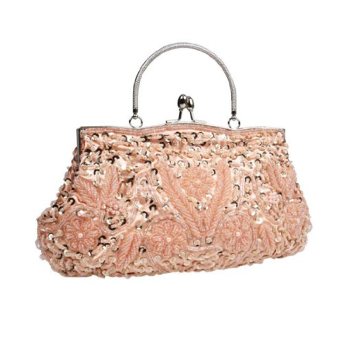 BMC Peach Beaded Sequin Design Metal Frame Kissing Lock Satin Clasp Interior Evening Clutch - Exuding Eloquence Collection - Evening Hard Clutch Purse Handbag