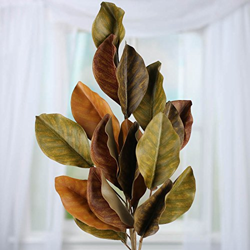 Factory Direct Craft Earth Tone Artificial Magnolia Leaf Spray for Home Decor, Accenting and Displaying