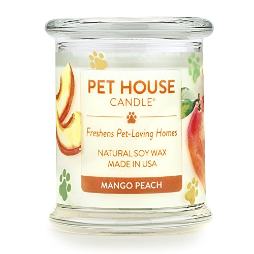 One Fur All - 100% Natural Soy Wax Candle, 20 Fragrances - Pet Odor Eliminator, 60-70 Hrs Burn Time, Non-toxic, Eco-Friendly Reusable Glass Jar Scented Candles – Pet House Candle, Mango Peach (Natural Soy Jar Candle)