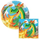 Slaying Dragon Lunch Plates & Napkins Party Kit for 8