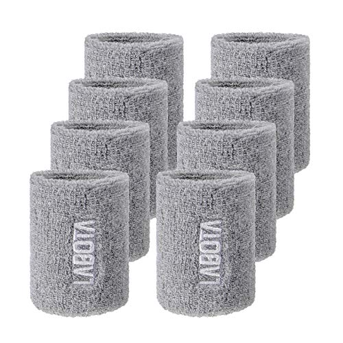 LABOTA 8 Packs Sports Cotton Elastic Wristbands Absorbent Sweatbands for Football Basketball, Running Athletic Sports; Grey