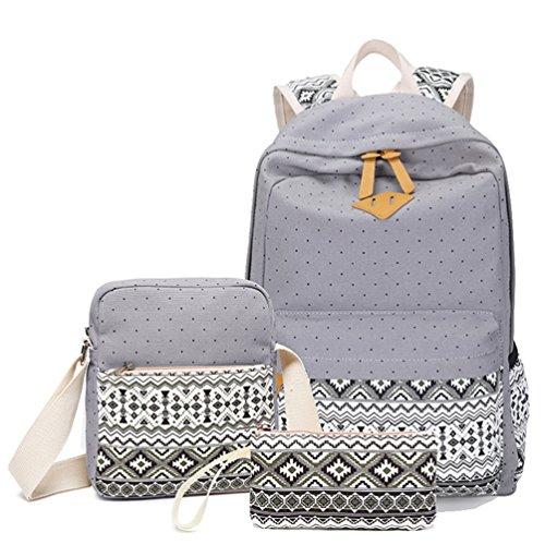 Hitop Geometry Dot Casual Canvas Backpack Bag, Fashion Cute Lightweight Backpacks + Shoulder Bag + Purse/Pen case for Teen Young Girls (Grey (1 set))