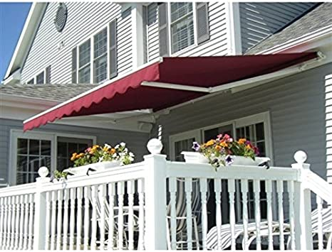 ALEKO Fabric Replacement For 20x10 Ft Retractable Awning Burgundy Color