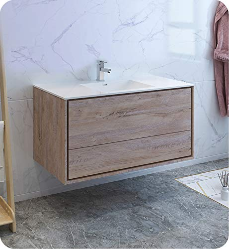 . Fresca Catania 48  Rustic Natural Wood Wall Hung Modern Bathroom Cabinet  w Integrated Sink