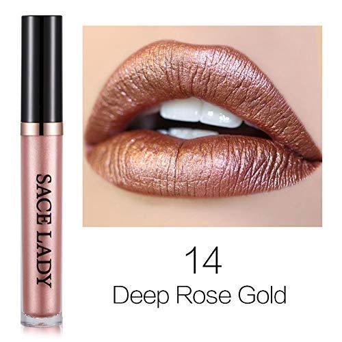 14 Deep Rose Gold : Metal Lipstick Waterproof Matte Makeup