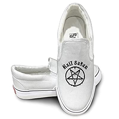 MGTER66 Hail Satan Classic Slip-On Casual Sneaker Unisex Style Color White
