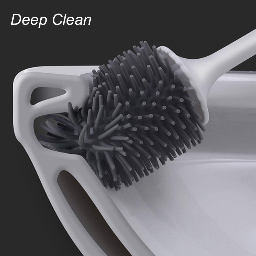Bathroom Toilet Bowl Brush and Holder Set Constructed of Durable Thermo Plastic Rubber WINKE Silicone Toilet Brush with Soft Bristle 2 pack