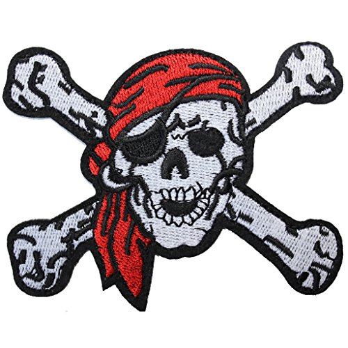 U-Sky Red Scarf Pirates Cross Bone Skull Embroidered Iron On Patches 2.9 x 3.7 (Pirate Iron On Patch)