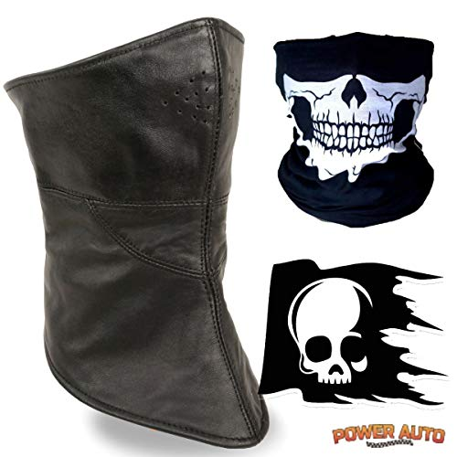 Leather Motorcycle Riding Half Face Mask & Neck Warmer - Outdoor Weatherproof - Waterproof - Windproof - Soft Lambskin Black Leather with Micro Fleece Liner & Velcro Closure + Skull Face Mask & Decal