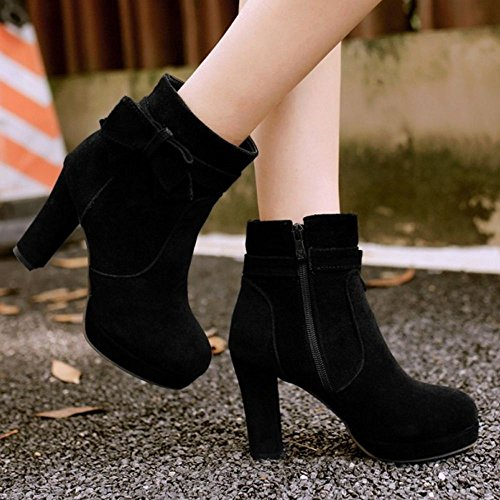 Heel Women With Boots Black Comfort Chunky Zipper Ankle High Bowknot COOLCEPT xIfBwdqB