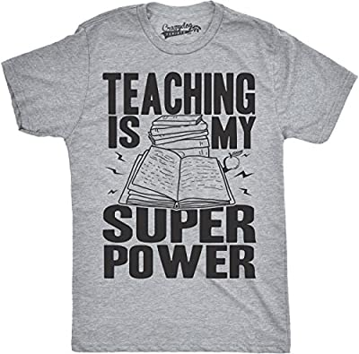Mens Teaching is My Superpower Funny Teacher Superhero Nerd T Shirt