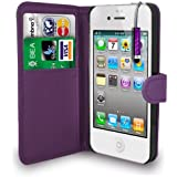 Apple Iphone 4 /4S Dark Purple Leather Wallet Flip Case Cover Pouch + Free Screen Protector & Mini Touch Stylus Pen - Dark Purple